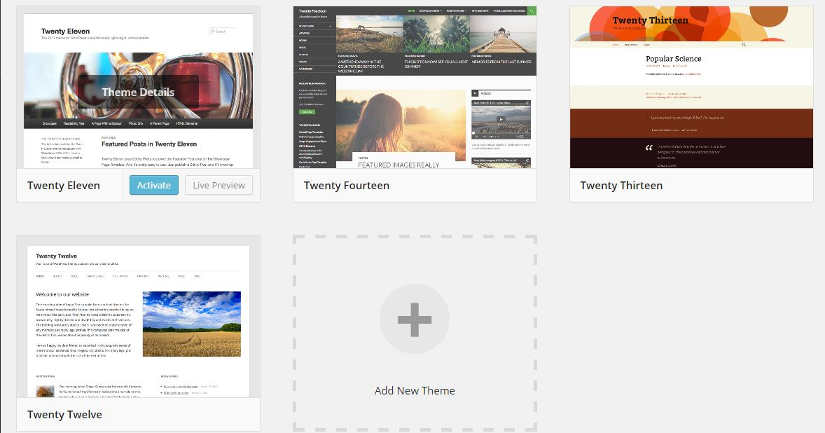 Tema WordPress Terbaik - Default Themes