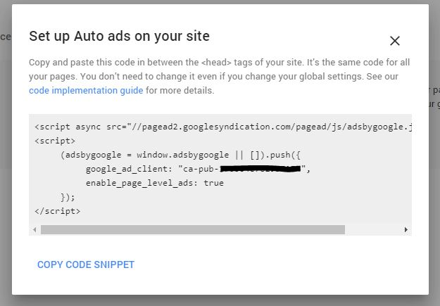 Adsense Ads Global Setting Code